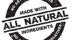 Made With All Natural Ingredients Label
