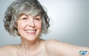 Beautiful Woman with Older Grey Hair Copy