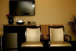 Reception Area with Chairs and TV