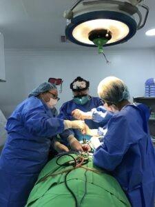 Julie, Alejandra and Dr. Gocke during amelioblastoma case