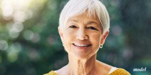 older female with white short hair